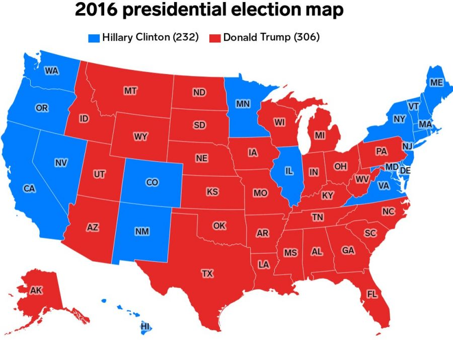 2016 electoral college map between Hillary Clinton and Donald Trump.
