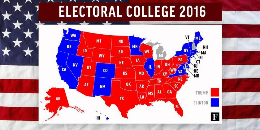 Map of the 2016 Electoral College between Hillary Clinton and Donald Trump.